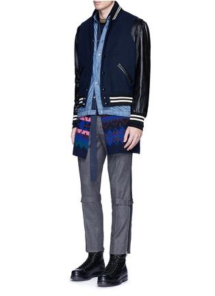 Figure View - Click To Enlarge - Sacai - Velvet collar cotton chambray shirt