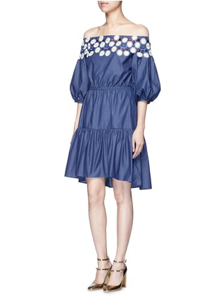 Figure View - Click To Enlarge - Peter Pilotto - 'Pallas' floral lace tiered off-shoulder dress