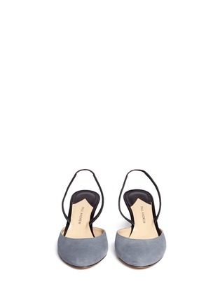 Front View - Click To Enlarge - Paul Andrew - 'Celestine' leather slingback suede pumps