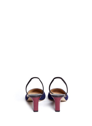 Back View - Click To Enlarge - Paul Andrew - 'Celestine' leather slingback suede pumps