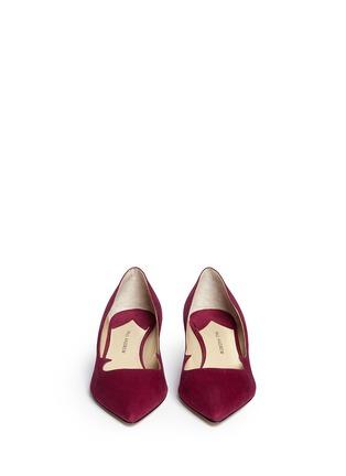 Front View - Click To Enlarge - PAUL ANDREW - 'Ankara' Swarovski crystal pavé heel suede pumps