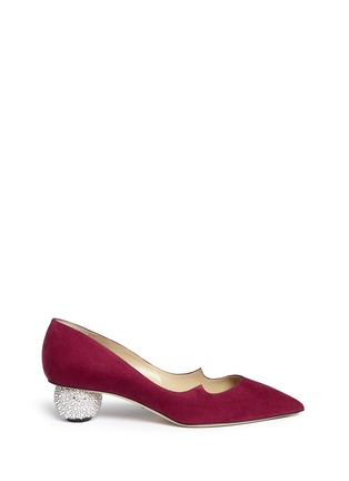 Main View - Click To Enlarge - PAUL ANDREW - 'Ankara' Swarovski crystal pavé heel suede pumps