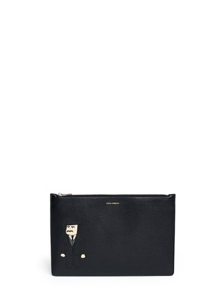 Main View - Click To Enlarge - Dolce & Gabbana - Sicilian man appliqué medium leather zip pouch