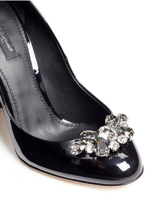 Detail View - Click To Enlarge - - - Jewel brooch patent leather pumps