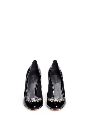 Front View - Click To Enlarge - - - Jewel brooch patent leather pumps