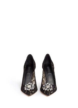 Front View - Click To Enlarge - - - 'Bellucci' jewel brooch Taormina lace pumps