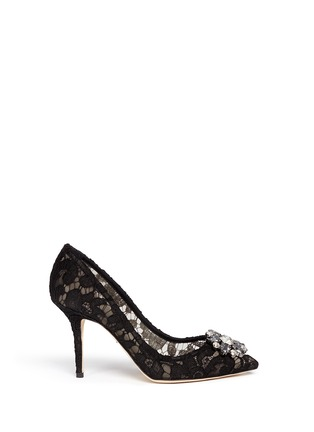 Main View - Click To Enlarge - - - 'Bellucci' jewel brooch Taormina lace pumps