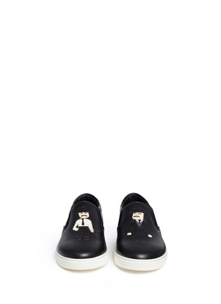 Front View - Click To Enlarge - Dolce & Gabbana - 'London' Sicilian man appliqué leather sneakers