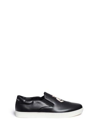 Main View - Click To Enlarge - Dolce & Gabbana - 'London' Sicilian man appliqué leather sneakers