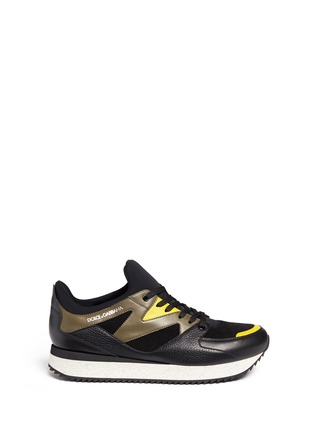 Main View - Click To Enlarge - Dolce & Gabbana - 'Belgrado' combo leather sneakers