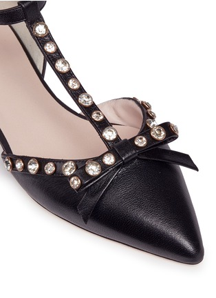 Detail View - Click To Enlarge - Kate Spade - 'Becca' jewelled bow T-strap leather flats