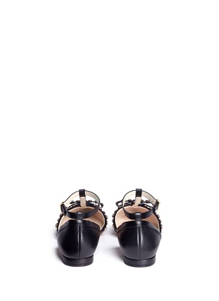 Back View - Click To Enlarge - Kate Spade - 'Becca' jewelled bow T-strap leather flats