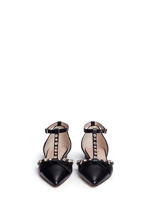 Front View - Click To Enlarge - Kate Spade - 'Becca' jewelled bow T-strap leather flats