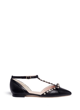 Main View - Click To Enlarge - Kate Spade - 'Becca' jewelled bow T-strap leather flats