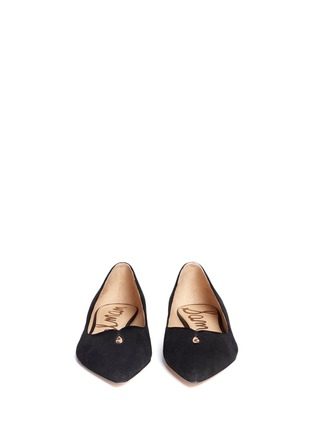 Front View - Click To Enlarge - SAM EDELMAN - 'Ruby' keyhole vamp suede skimmer flats