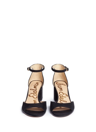 Front View - Click To Enlarge - Sam Edelman - 'Susie' block heel ankle strap suede sandals