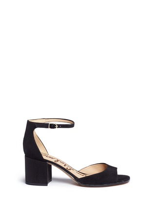 Main View - Click To Enlarge - Sam Edelman - 'Susie' block heel ankle strap suede sandals