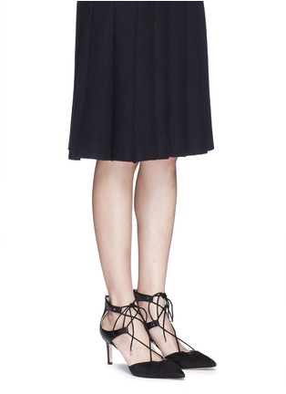 Figure View - Click To Enlarge - SAM EDELMAN - 'Taylor' lace-up suede and leather pumps
