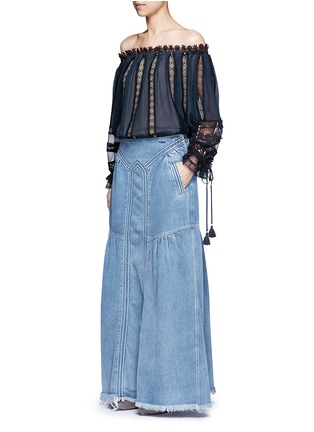 Figure View - Click To Enlarge - Chloé - Frayed hem denim maxi skirt
