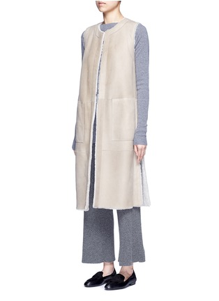 Front View - Click To Enlarge - Theory - 'Skea F' reversible lambskin shearling gilet