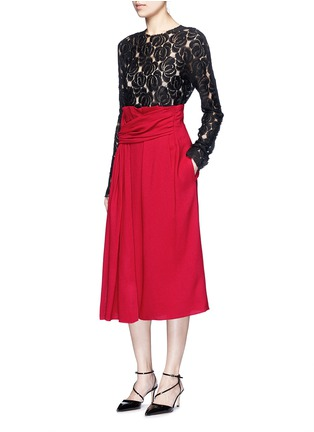 Figure View - Click To Enlarge - LANVIN - Draped sash textured skirt