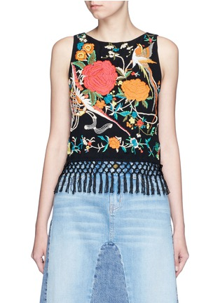 Main View - Click To Enlarge - alice + olivia - 'Clarice' floral embroidery fringe chiffon top