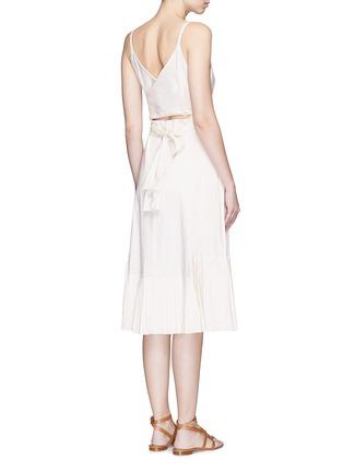 Back View - Click To Enlarge - Theory - 'Minkar' pleat hem wrap waist poplin dress