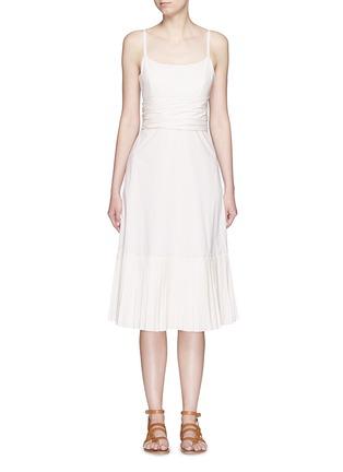 Main View - Click To Enlarge - Theory - 'Minkar' pleat hem wrap waist poplin dress