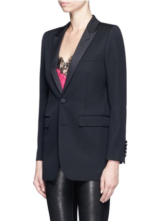 Front View - Click To Enlarge - SAINT LAURENT - Satin peak lapel virgin wool jacket