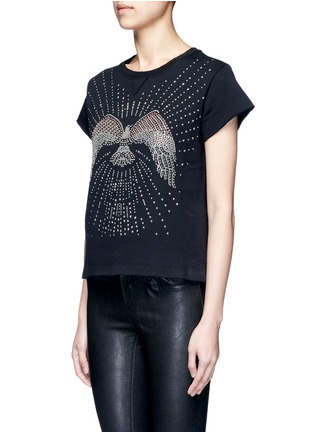 Front View - Click To Enlarge - Valentino - Embellished eagle terry raw edge sweatshirt