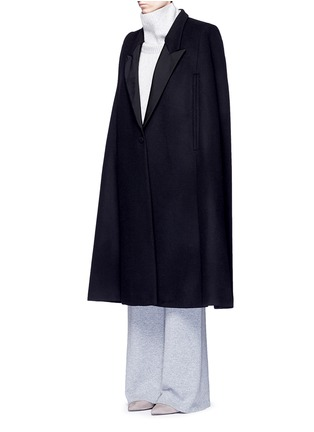 Front View - Click To Enlarge - Stella McCartney - 'Becker' wool blend melton tuxedo cape coat