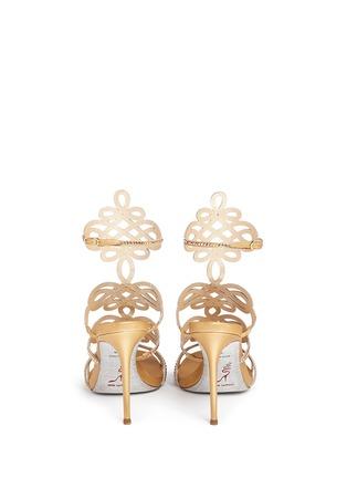 Back View - Click To Enlarge - René Caovilla - Strass pavé lasercut satin sandals