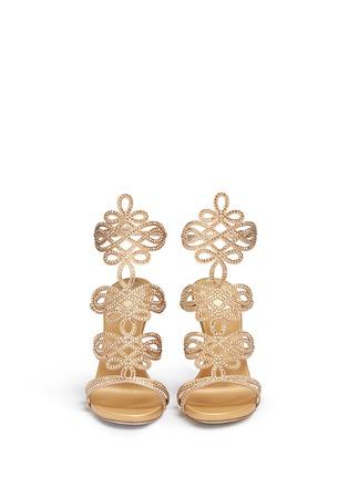 Front View - Click To Enlarge - René Caovilla - Strass pavé lasercut satin sandals