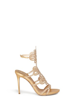 Main View - Click To Enlarge - René Caovilla - Strass pavé lasercut satin sandals