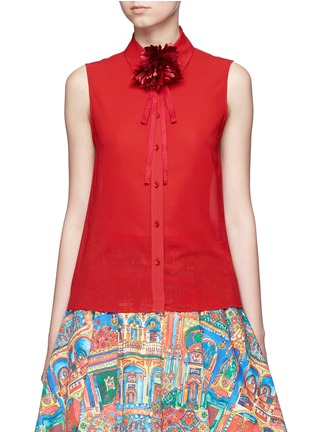 Main View - Click To Enlarge - ALICE + OLIVIA - 'Teri' floral ribbon necktie sleeveless crepe shirt