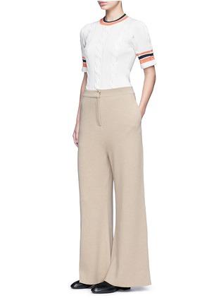 Figure View - Click To Enlarge - Stella McCartney - Wide leg wool rib knit pants