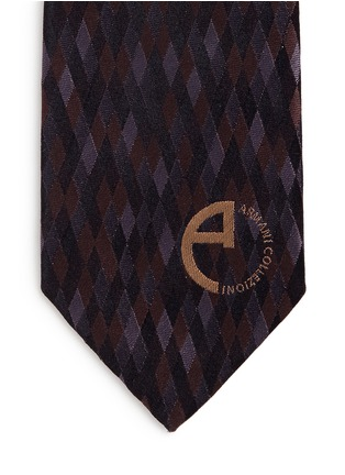 Detail View - Click To Enlarge - Armani Collezioni - Diamond jacquard silk tie