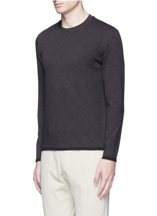 Front View - Click To Enlarge - Armani Collezioni - Diamond jacquard slim fit sweater