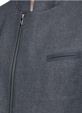 Detail View - Click To Enlarge - ARMANI COLLEZIONI - Nehru collar bonded wool blouson jacket