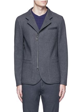 Main View - Click To Enlarge - ARMANI COLLEZIONI - Nehru collar bonded wool blouson jacket