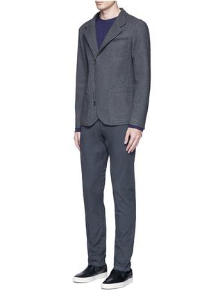 Figure View - Click To Enlarge - ARMANI COLLEZIONI - Nehru collar bonded wool blouson jacket