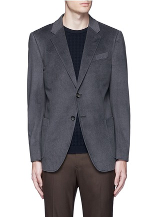Main View - Click To Enlarge - ARMANI COLLEZIONI - Notched lapel velvet blazer