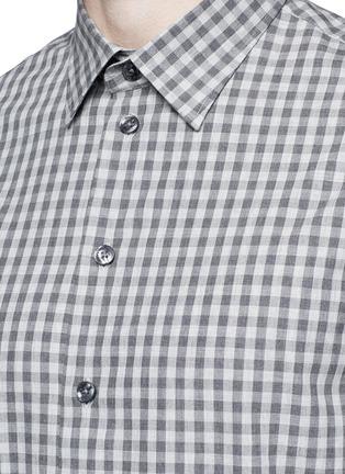 Detail View - Click To Enlarge - Armani Collezioni - Gingham check cotton shirt