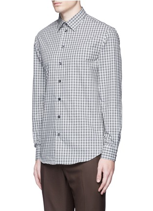 Front View - Click To Enlarge - Armani Collezioni - Gingham check cotton shirt