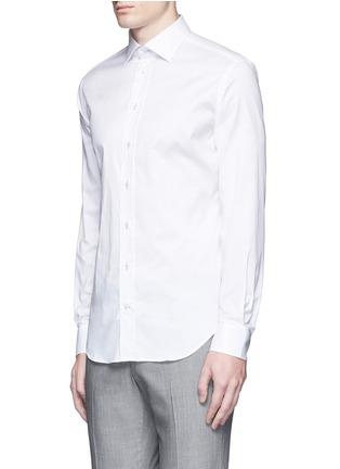 Front View - Click To Enlarge - Armani Collezioni - Contrast shoulder cotton shirt