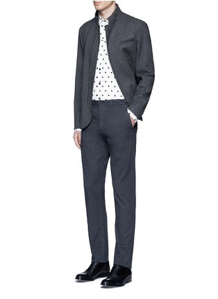 Figure View - Click To Enlarge - Armani Collezioni - Diamond print cotton blend shirt