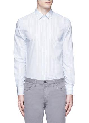 Main View - Click To Enlarge - Armani Collezioni - Check grid cotton shirt