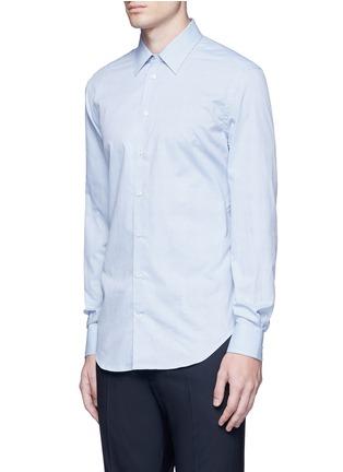 Front View - Click To Enlarge - Armani Collezioni - Slim fit chain link cotton shirt