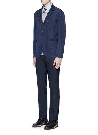 Figure View - Click To Enlarge - Armani Collezioni - Slim fit chain link cotton shirt