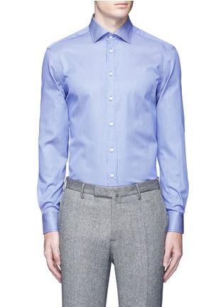 Main View - Click To Enlarge - Armani Collezioni - Slim fit stripe cotton shirt